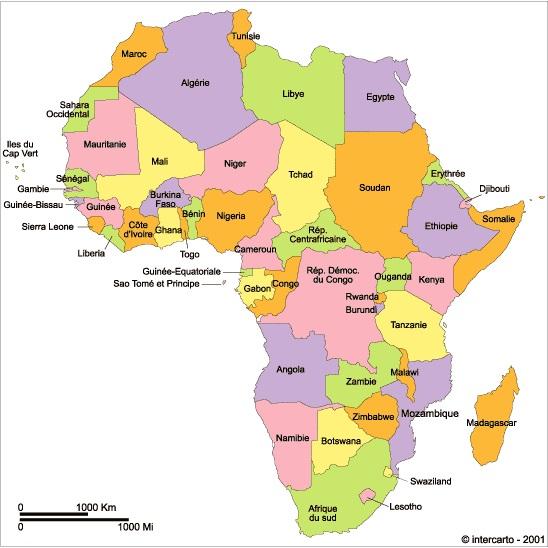 Carte De Lafrique Francophone.Afrique Geographie