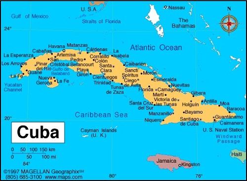 Carte Cuba Detaillee.Amerique Du Sud Geographie