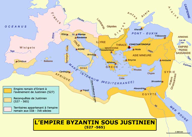 Justinien-empire-Byzantin-empire-romain-d-Orient-sous-Justinien-Thrace-Macedoine-Ilyrie-Egypte-Syrie-tripolie-Sicile-Grece-Jerusalem-527-565-