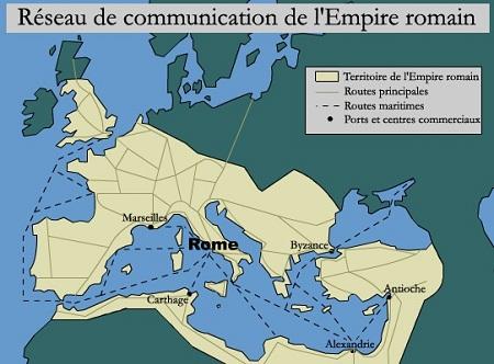 HISTOIRE ABRÉGÉE DE L'ÉGLISE - PAR M. LHOMOND – France - année 1818 (avec images et cartes) Rome-territoire-de-l-Empire-romain-routes-principales-routes-maritimes-ports-et-centres-commerciaux-Rome-Carthage-Marseilles-Antioche-Byzance-Alexandrie-Rome