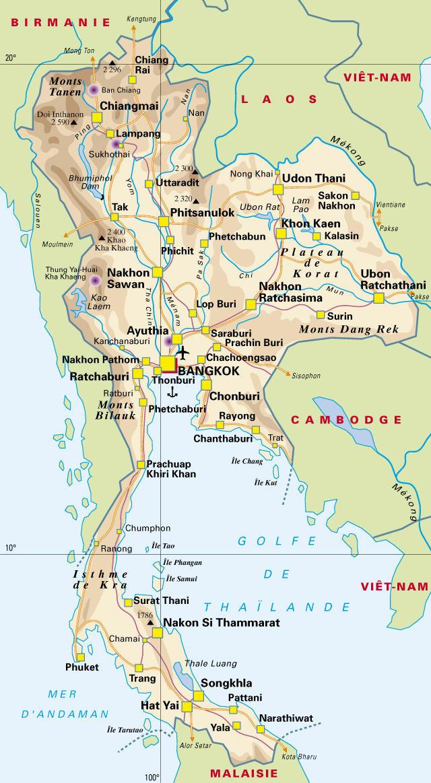 Carte Thailande Nord Ouest.Asie Geographie