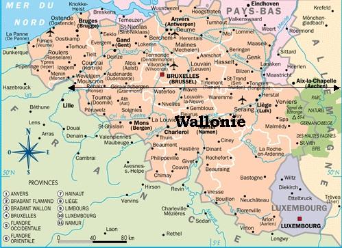 Carte De La Wallonie Belgique.Belgique Geographie
