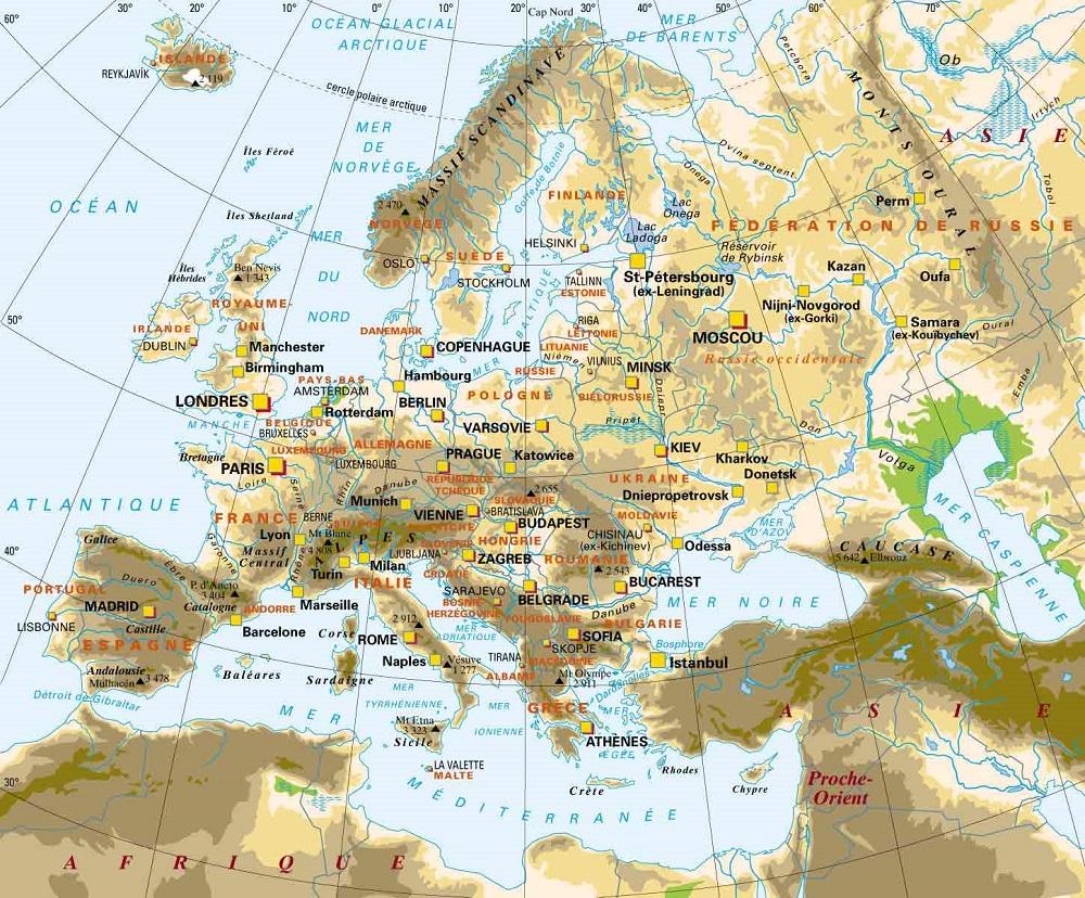 Europe Centrale Et Orientale Carte.Europe Centrale Geographie