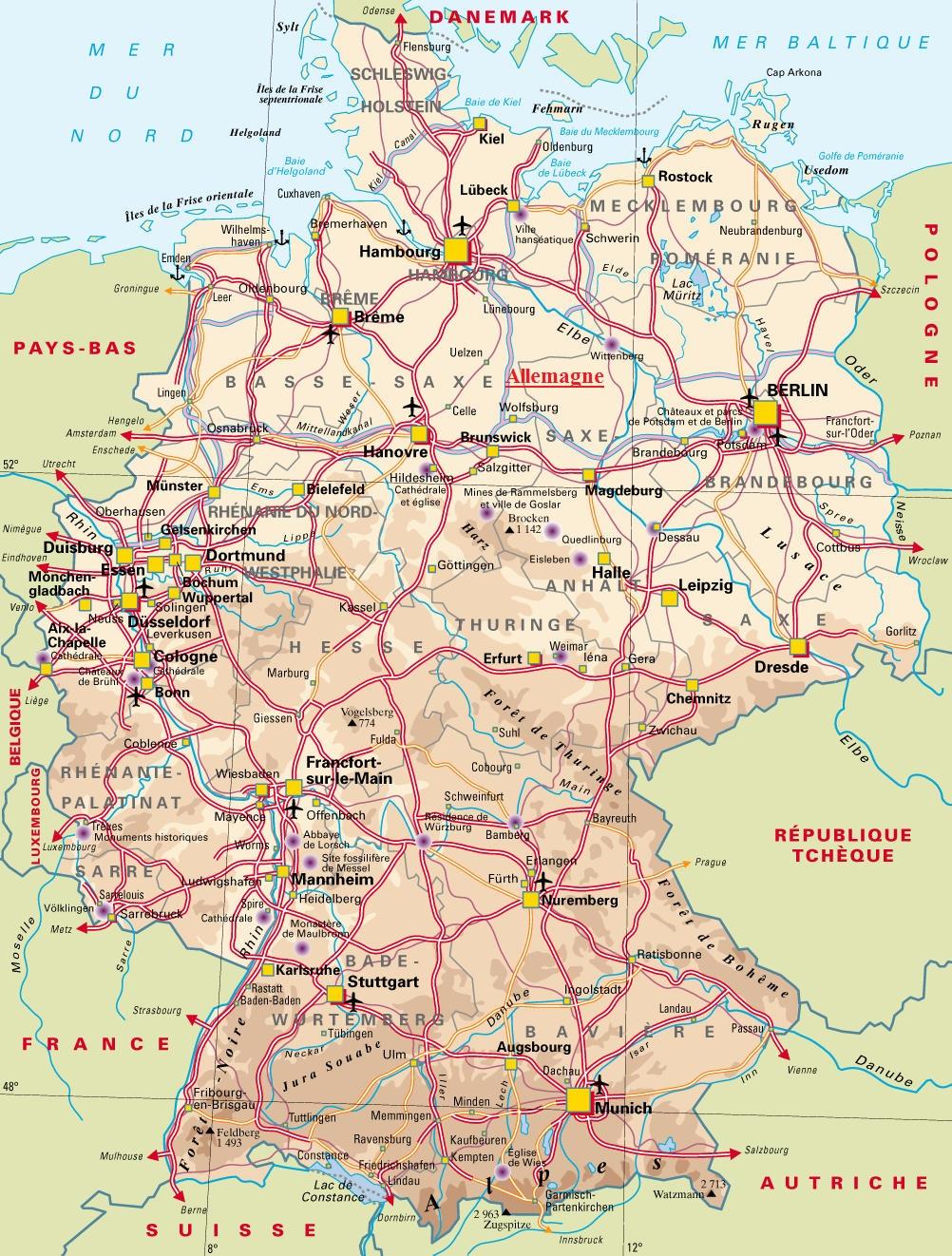 Carte Allemagne Facile.Europe De L Ouest