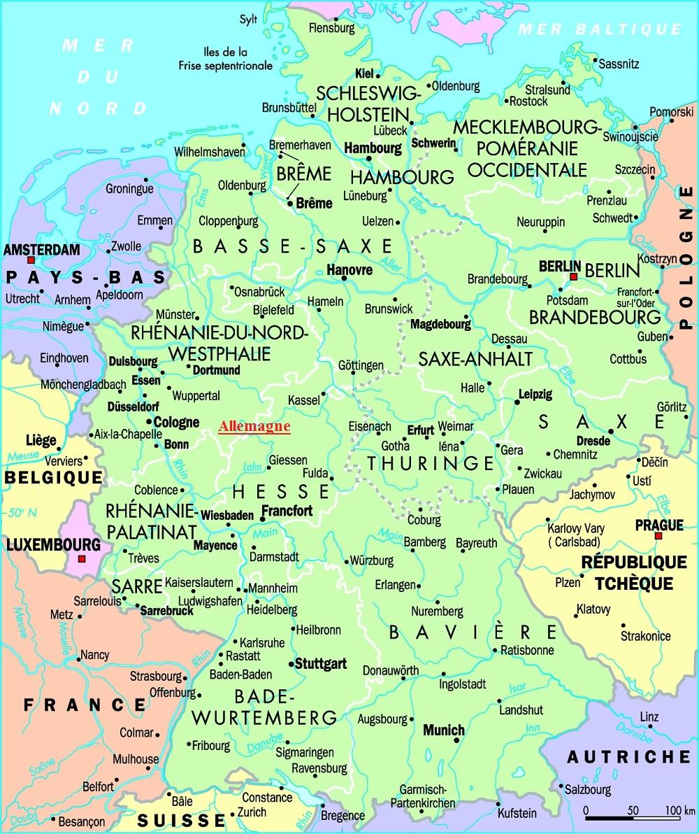 Carte Allemagne De Louest.Europe De L Ouest
