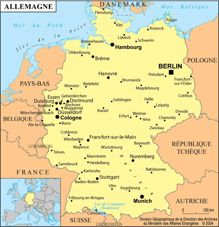 carte europe du nord