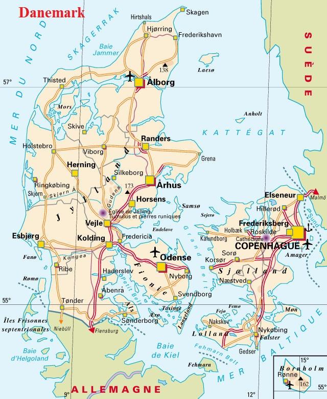 Carte Angleterre Danemark.Europe Geographie