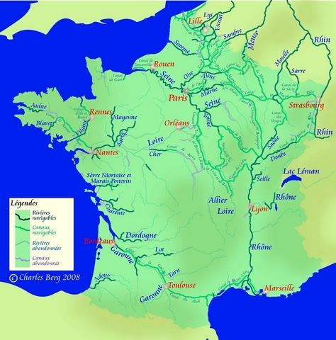 carte de france et ses 5 fleuves