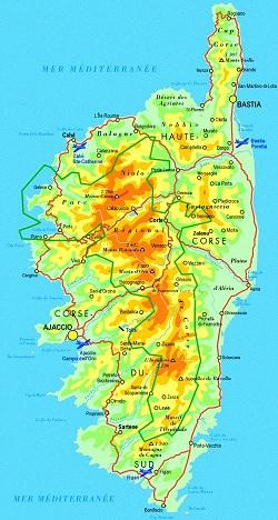 Carte Corse Fleuve.France Geographie