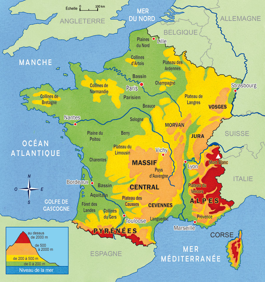 carte de france relief - Image