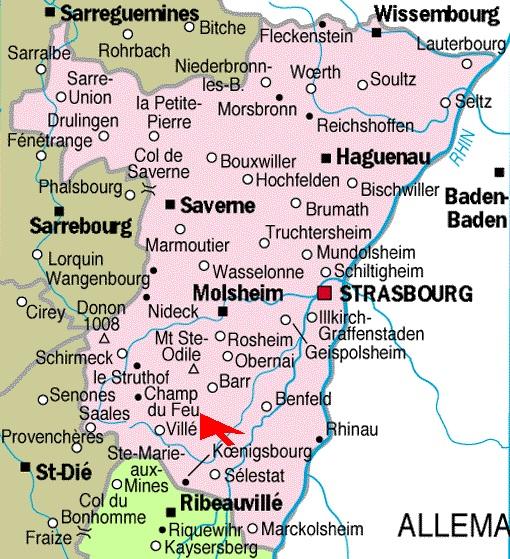 Carte Touristique Alsace Du Nord.France Touristique