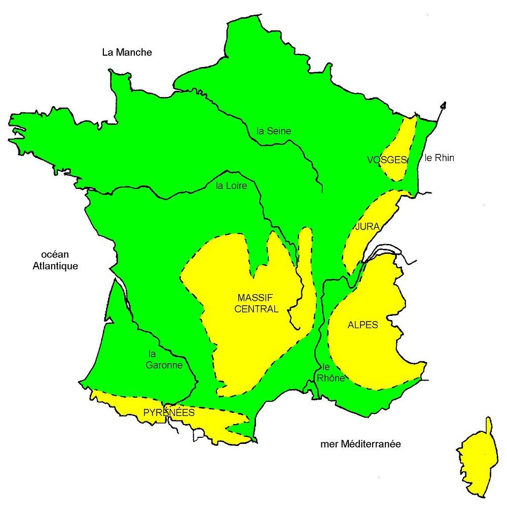 carte de france des montagnes