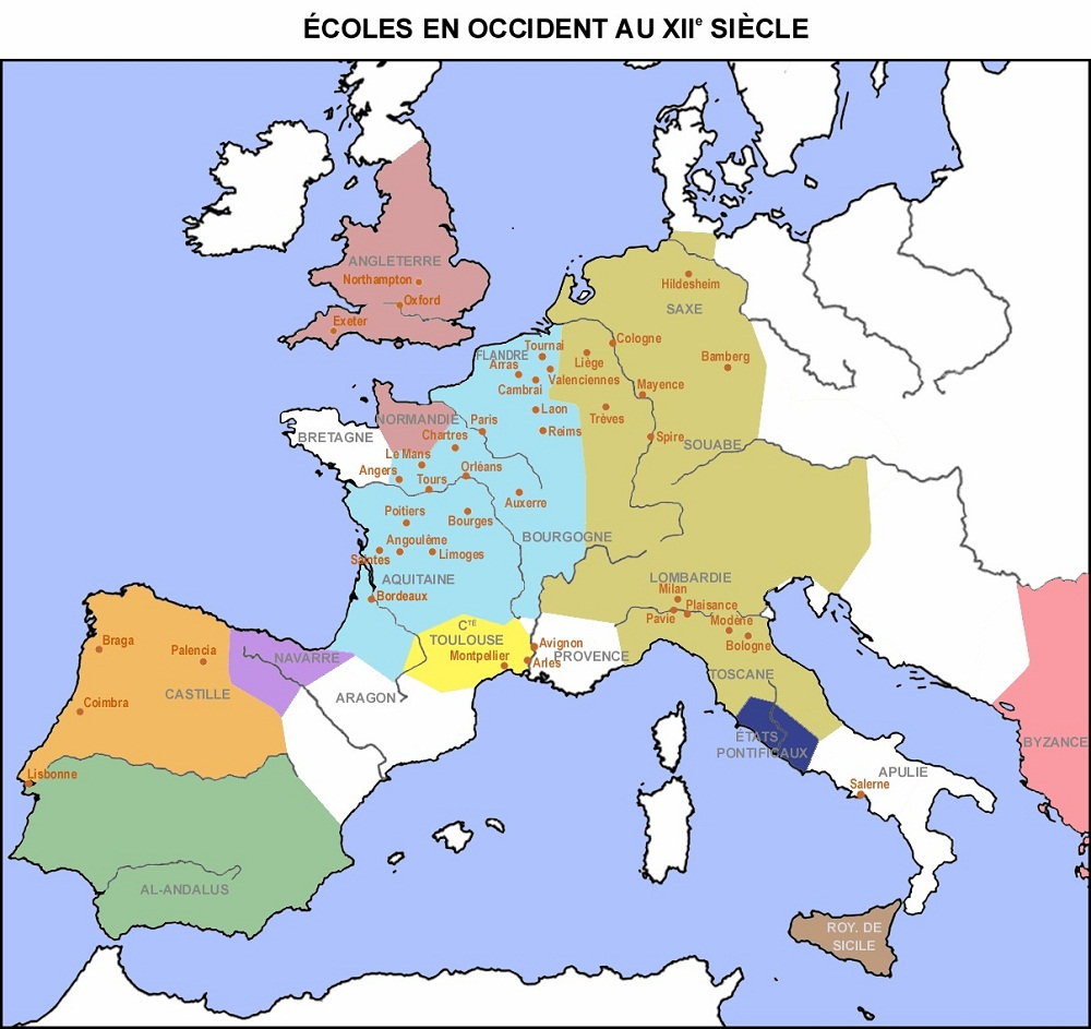 Ecoles-au-moyen-age-en-Occident-XIIe-siecle-France-Espagne-Portugal-Allemagne-Angleterre-Italie