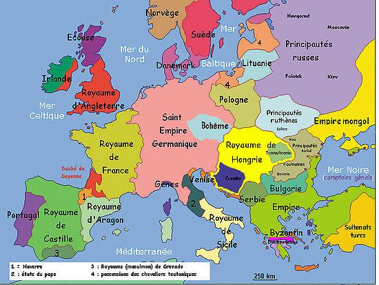 carte europe xiieme siecle