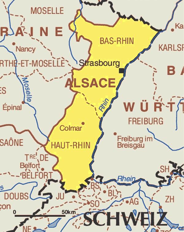 Carte Alsace Colmar Strasbourg.Regions De France