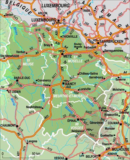 Карта Лотарингии