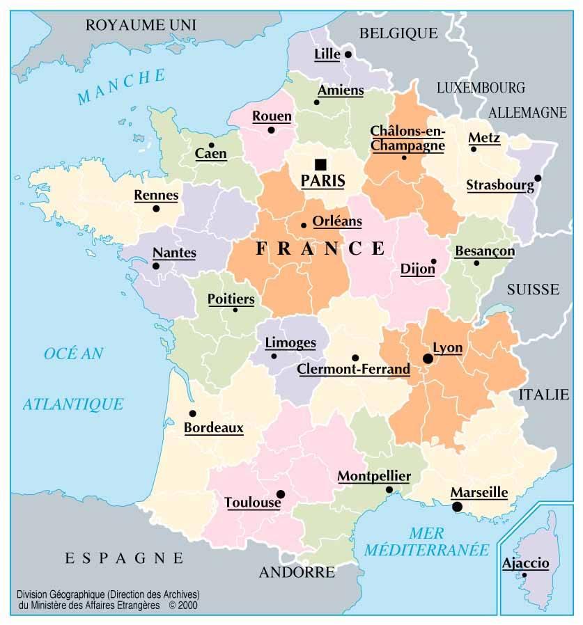 bordeaux carte de france France villes de France